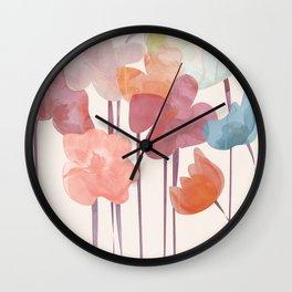Watercolour Flowers Wall Clock