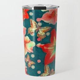 Amaryllis and Butterflies 2 Travel Mug