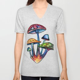 Cluster of Coloured Shrooms Unisex V-Neck