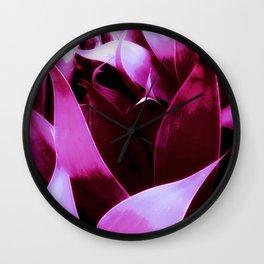 Magenta Leaves Abstract Wall Clock