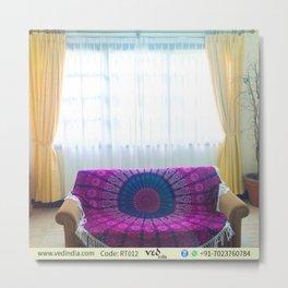 Hippie Round Mandala Tapestry Yoga Mat in Pink & Purple Metal Print