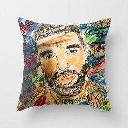 ovo,drizzzy,poster,wall art,dope,toronto,graffiti,street art,fan art,music,gift,rap,hiphop,rapper Throw Pillow