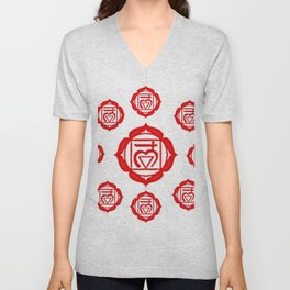 "RED SANSKRIT CHAKRA PSYCHIC WHEEL ""GROUND"" Unisex V-Neck"