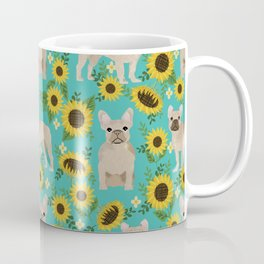 French Bulldog sunflowers sunflower floral dog breed dog pattern pet friendly pet portrait Coffee Mug
