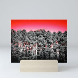 Gray Trees Candy Apple red Sky Mini Art Print