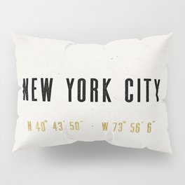 Vintage New York City Gold Foil Location Coordinates with map Pillow Sham