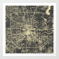 houston Art Prints featuring Houston Yellow by Map Map Maps