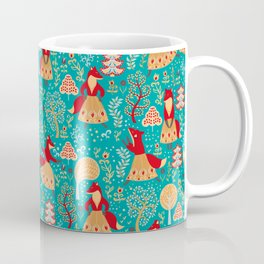 Dancing foxes in a fairy forest. Folk Art. Seamless pattern. Green background. Coffee Mug