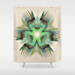 Teal Fringed Flower Shower Curtain