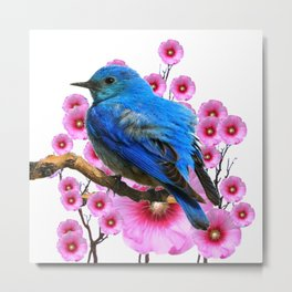 DECORATIVE BLUE BIRD & PINK HOLLYHOCKS VIGNETTE Metal Print