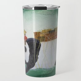 Big Panda Bear delivers gift packages like a Courier - Painting by Lisa Rotenberg Travel Mug