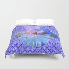 BLUISH-WHITE PASTEL IRIS FLOWERS OPTICAL ART PATTERNS Duvet Cover