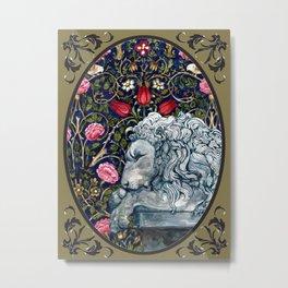 Stone Lion Cameo Version Metal Print