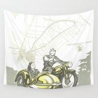 motorbike Wall Tapestries featuring Vintage Hockenheim Motorbike Ad by Christine aka stine1