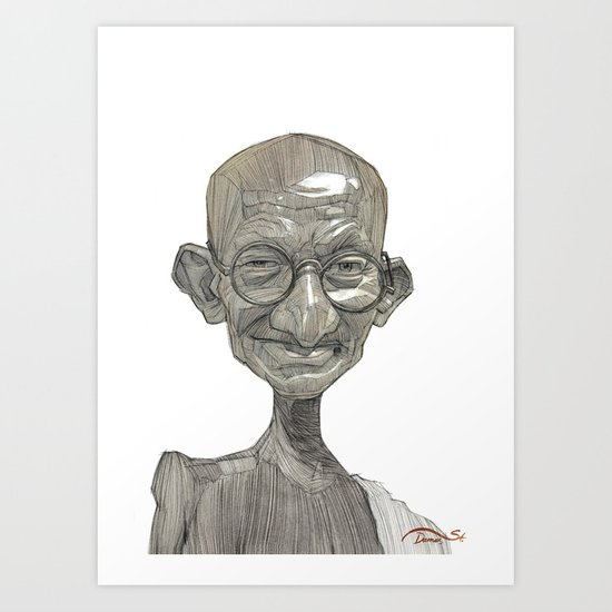 Mahatma Gandhi illustration portrait Art Print