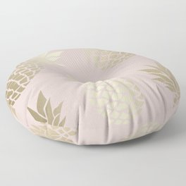 Abstract, Pineapple Art, Pink and Gold Floor Pillow