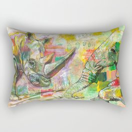 Rhinoceros Love and Friendly Observer Together! Rectangular Pillow