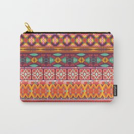 Seamless colorful aztec carpet with birds,flowers and arrow Carry-All Pouch