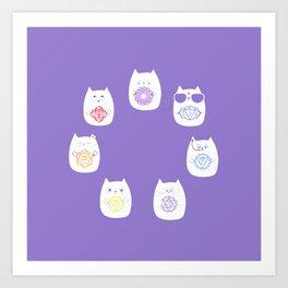 Chakra cats Art Print