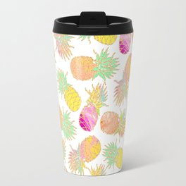 Tropical neon pink teal watercolor faux gold glitter pineapple Travel Mug