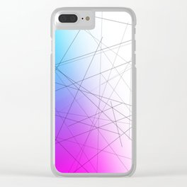 Minimal Thin Line with Blends of Cyan Magenta and White Clear iPhone Case