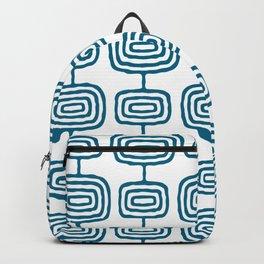 Mid Century Modern Atomic Rings Pattern Peacock Blue 3 Backpack
