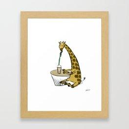 Coffee Giraffe Framed Art Print