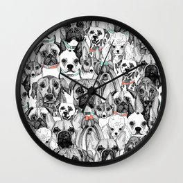 just dogs coral mint Wall Clock