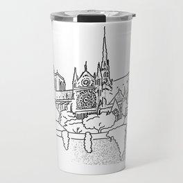 Notre Dame and Eiffel Tower travel scene Travel Mug