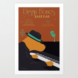 Diggin Bones Jazz Bar Art Print