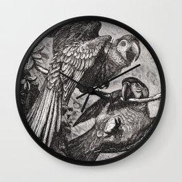 Vintage Love Parrots Wall Clock