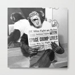 Space Chimp Lives - NASA Moon Flight black and white photograph Metal Print