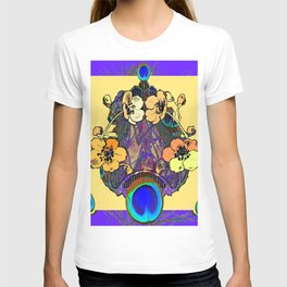 Decorative  Modern Floral Purple-cream Peacock art T-shirt