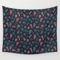 the office Wall Tapestries featuring Office plankton by Victoria Sochivko