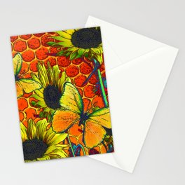 ORANGE-YELLOW BUTTERFLIES & SUNFLOWERS ARTISTIC HONEYCOMB DRAWING Stationery Cards