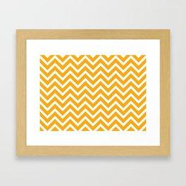 orange, white zig zag pattern design Framed Art Print