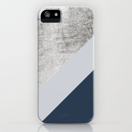 Modern minimalist navy blue grey and silver foil geometric color block iPhone Case