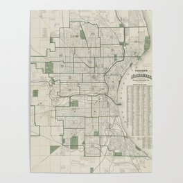 Vintage Map of Milwaukee Wisconsin (1909) Poster
