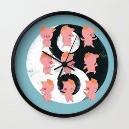 Pig Tai Chi Move Wall Clock