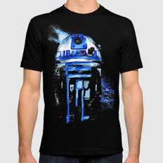 R2-D2 R2D2 droid watercolor Wars Scifi Star FAnart Black Mens Fitted Tee X-LARGE