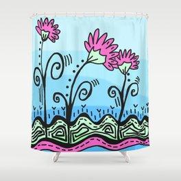 Three Spring Flowers - Blue Shower Curtain