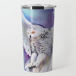 Flying White Owl Modern Watercolor Travel Mug