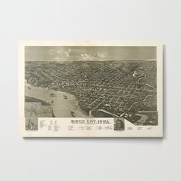Vintage Pictorial Map of Sioux City Iowa (1888) Metal Print