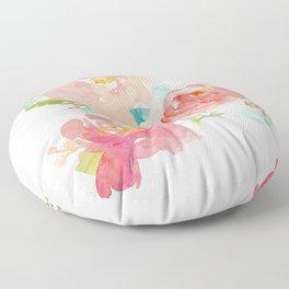 Watercolor Peony Bouquet Floor Pillow