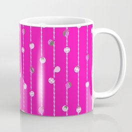Vibrant Christmas Baubles and Tinsel in Silver and Green Coffee Mug