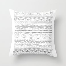 Grey aztec pattern Throw Pillow