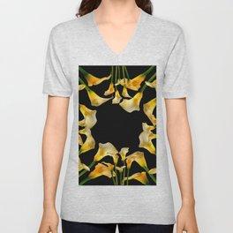 Golden Calla Lilies Black Garden Art Unisex V-Neck