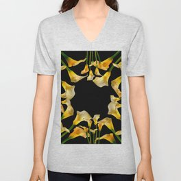 Golden Calla Lilies Black Garden Art Unisex V-Neck