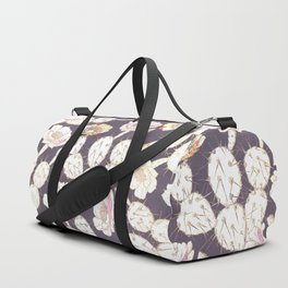 Modern white gold mauve lavender catus floral Duffle Bag
