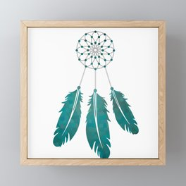 Magic Dreamcatcher with beads and feathers the color of sea water Framed Mini Art Print